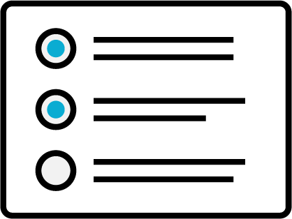 Badge with lists and radio dots
