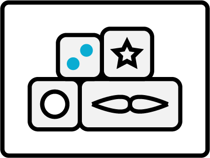 Badge with stacked blocks and icons